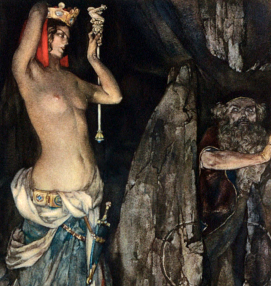 "Here we show a portion of 'So by her subtle working she made Merlin to go under that stone ...' - it is from the William Russell Flint suite published in ""Le Morte d'Arthur: The Book of King Arthur and his Noble Knights of the Round Table"" (1910-11)."