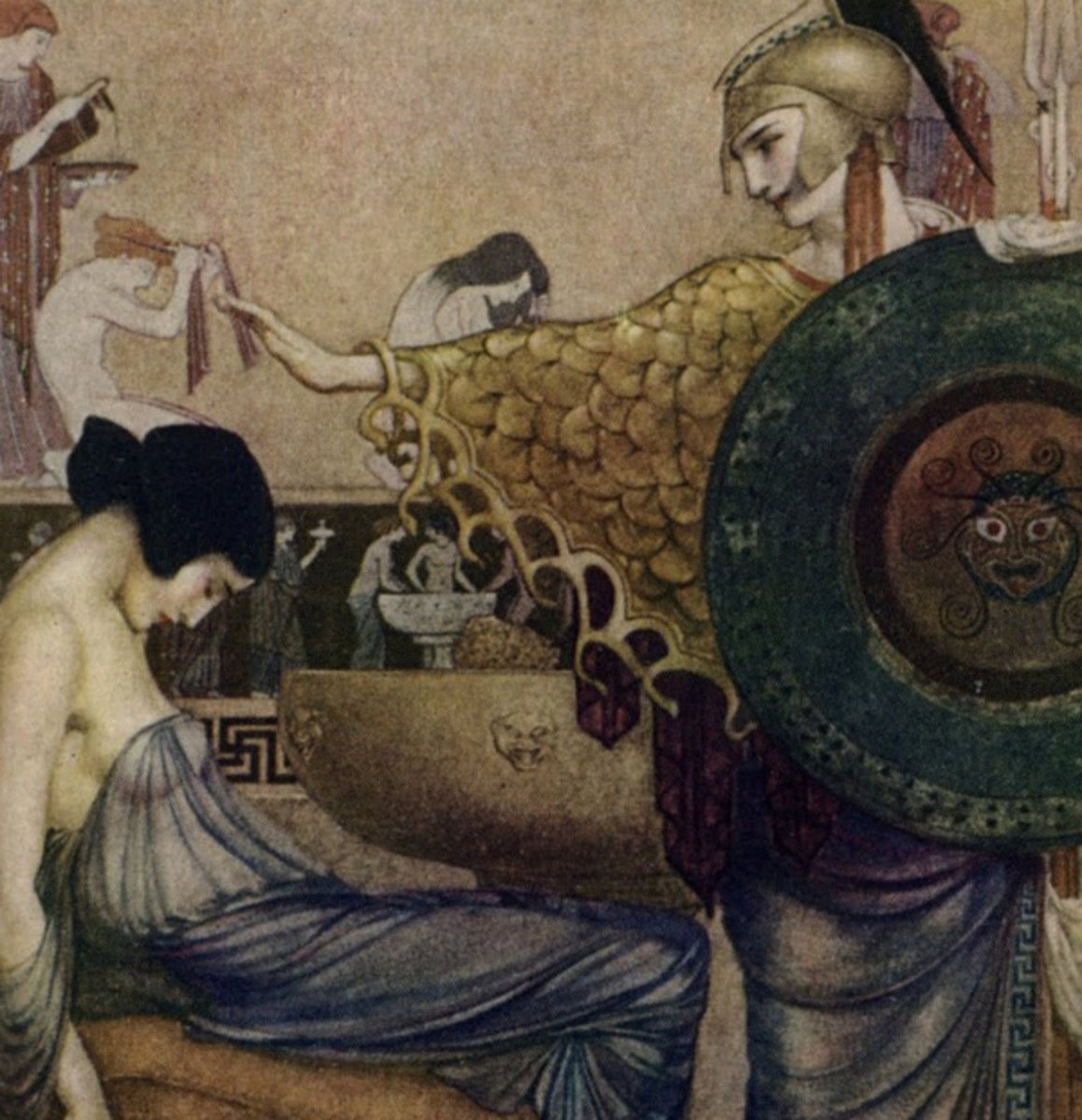 "Here we show a portion of 'All her joints were loosened as she lay in the chair ...' - it is from the William Russell Flint suite published in ""The Odyssey of Homer"" (1924)."