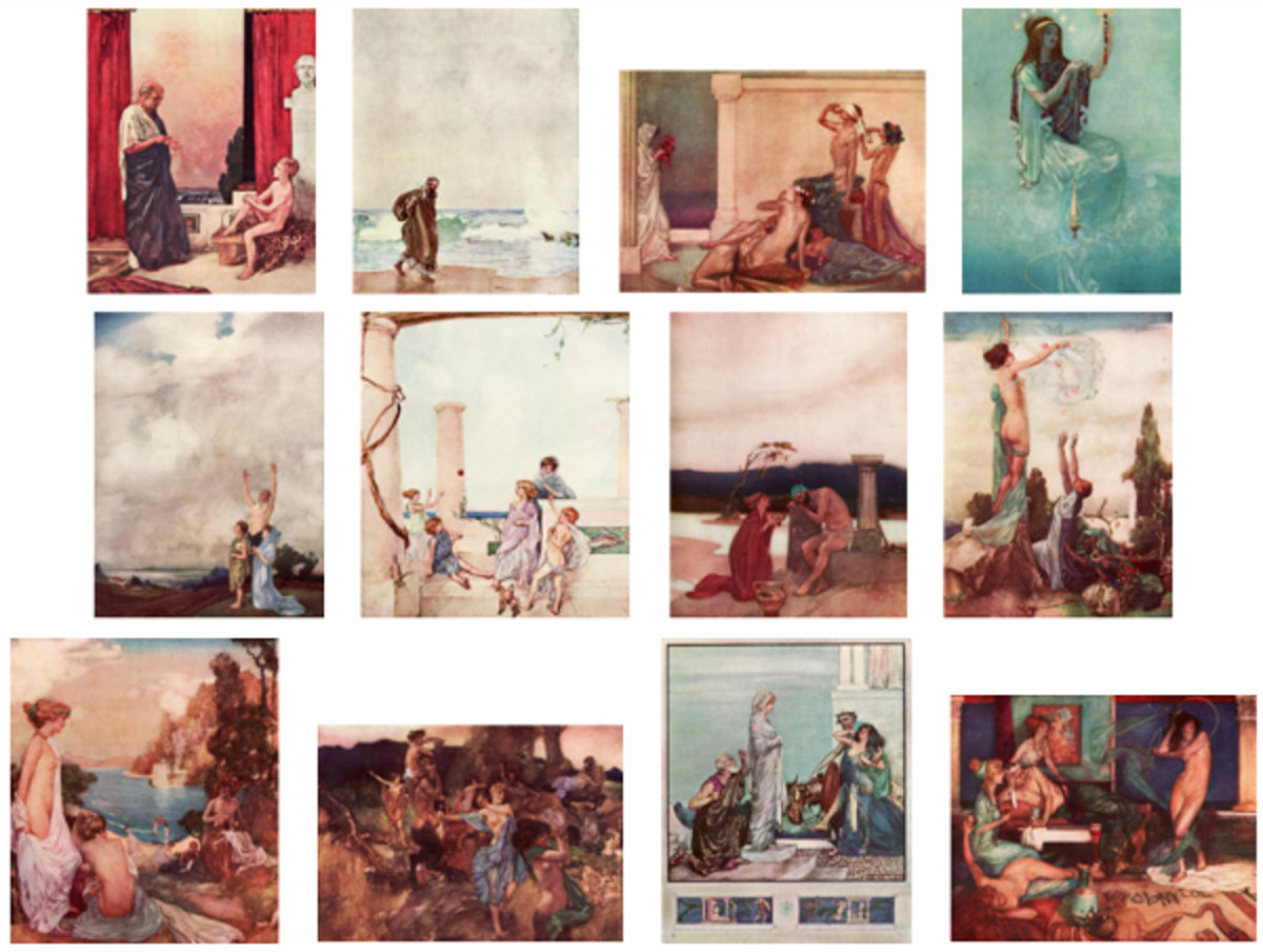 "Here we show each of William Russell Flint's color illustrations published in ""The Thoughts of the Emperor Marcus Aurelius Antoninus"" (1909)."