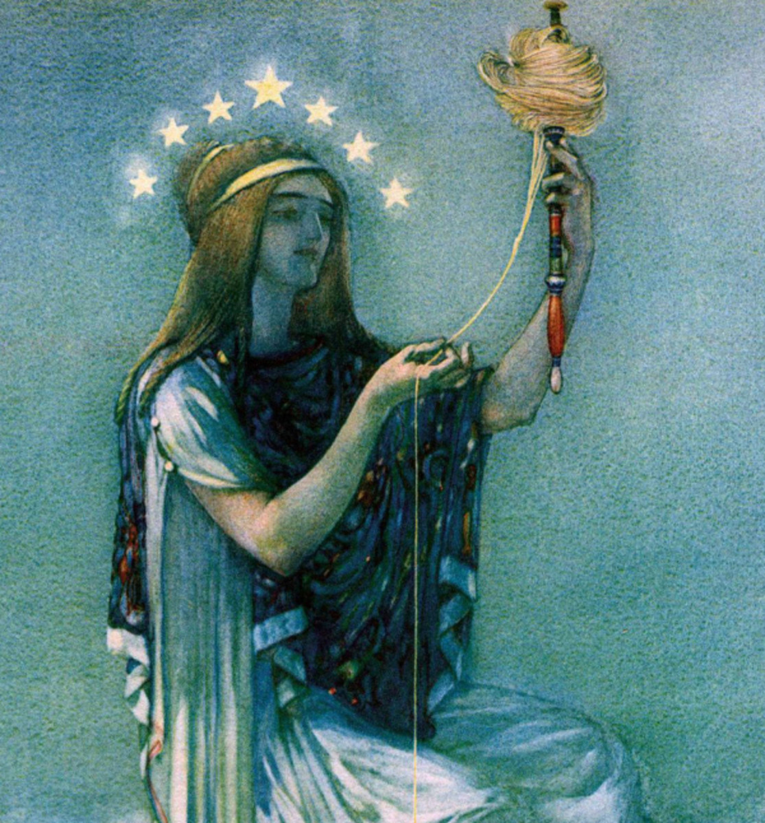 """Here we show a portion of 'Willingly give thyself up to Clotho ...' - it is from the suite by William Russell Flint published in """"The Thoughts of the Emperor Marcus Aurelius Antoninus"""" (1909)."""