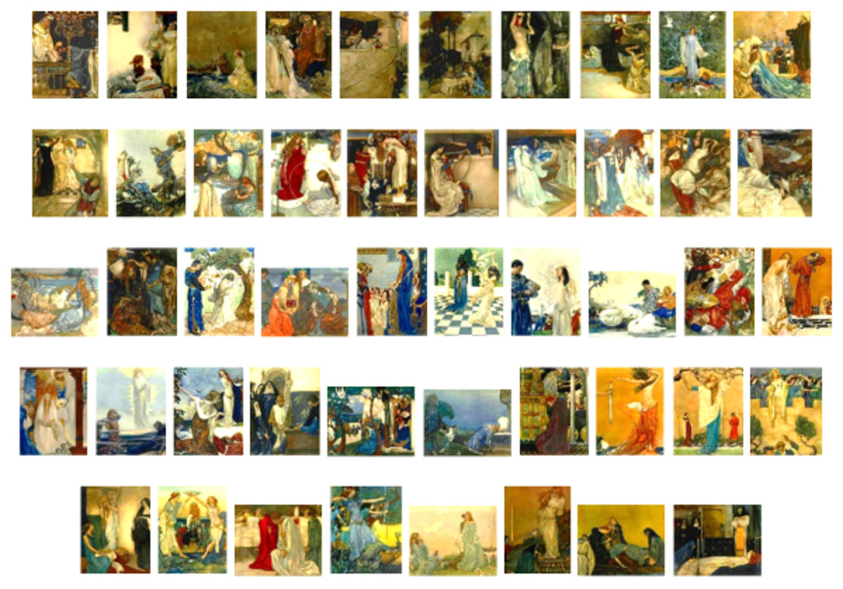 "Here we show each of William Russell Flint's color illustrations published in ""Le Morte d'Arthur: The Book of King Arthur and his Noble Knights of the Round Table"" (1910-11)."