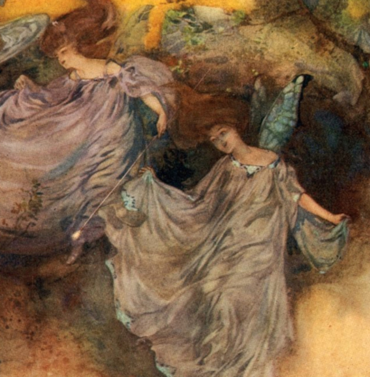 """Here we show a portion of 'Enter Fairies, led by Leila, Celia, and Fleta' - it is from the suite by William Russell Flint published in """"Iolanthe and Other Operas"""" (1910)."""