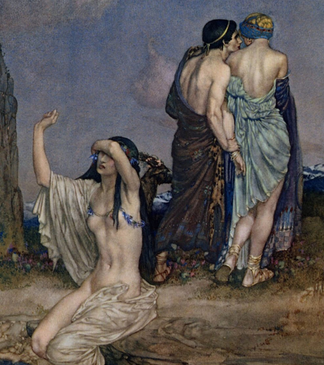 "Here we show a portion of 'The Love of Achilles' - it is from the William Russell Flint suite published in ""Theocritus, Bion and Moschus"" (1922)."