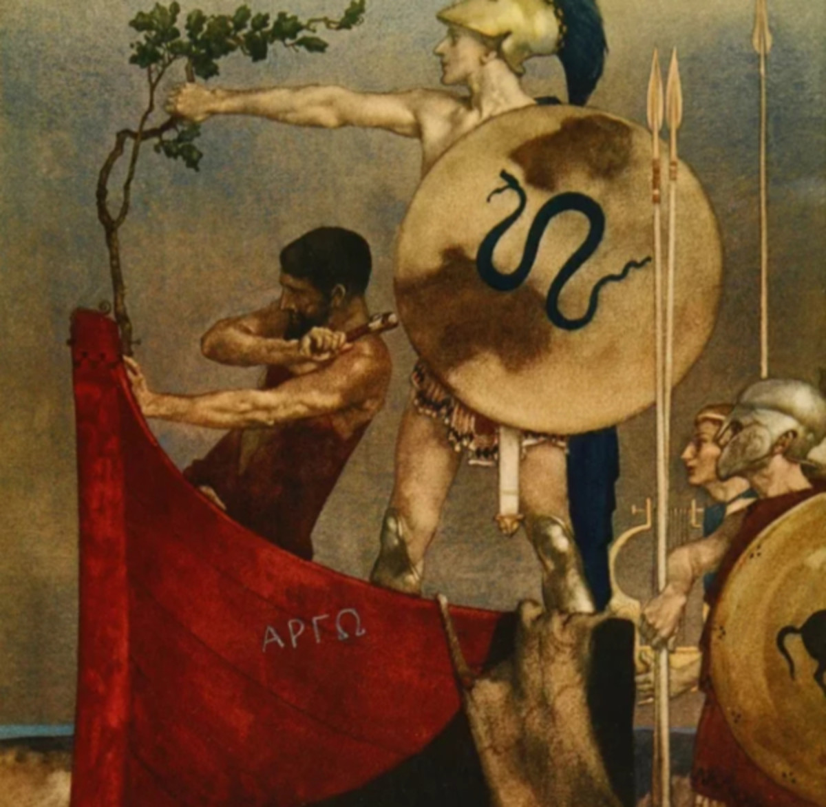 "Here we show a portion of 'How they built the Ship Argo in Iolcos' - it is from the William Russell Flint suite published in ""The Heroes; or, Greek Fairy Tales for My Children"" (1912)."