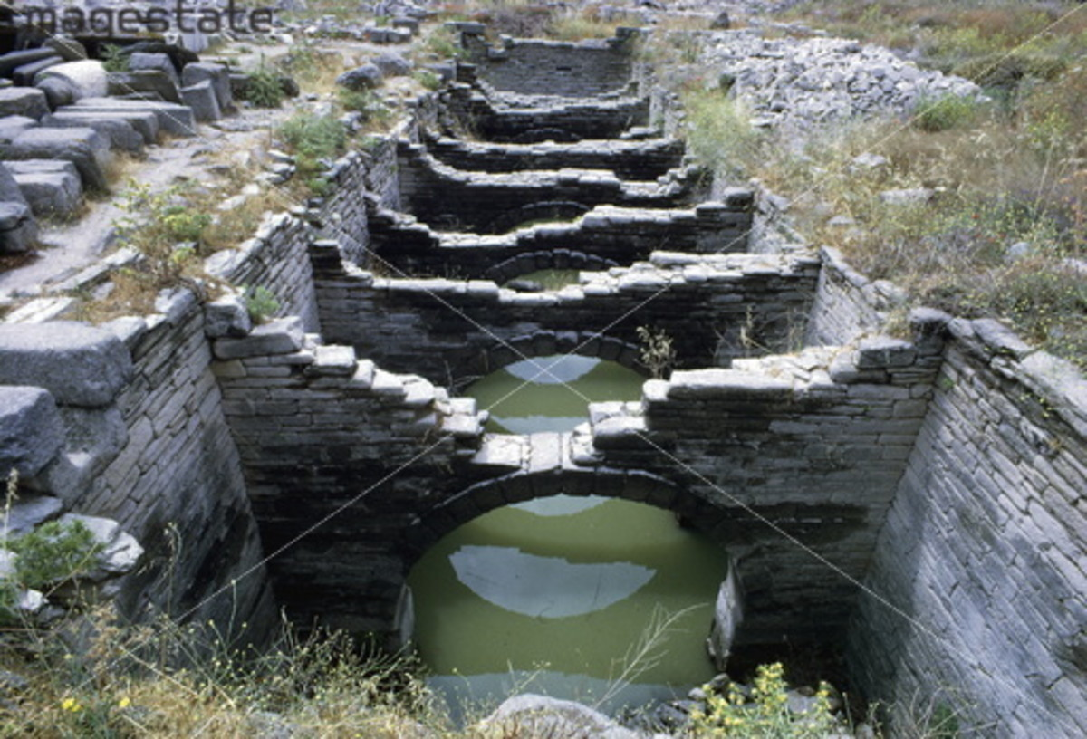 Aqueduct, Delos, Greece. Remains of an Ancient Greek water course on the island of Delos. Artist: Unknown
