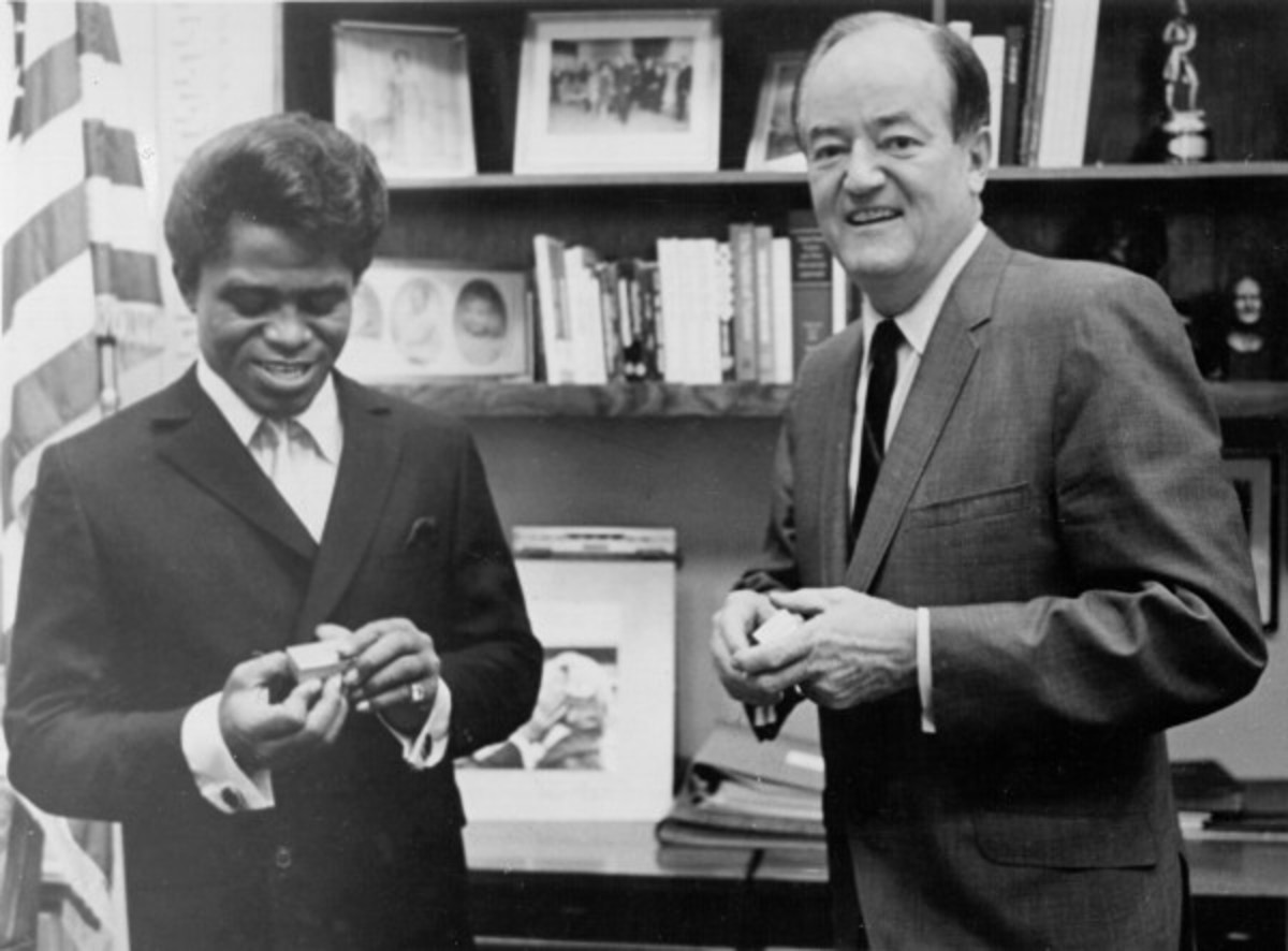 James Brown visits U.S. vice president Hubert H. Humphery at his Washington, D.C. office in 1967
