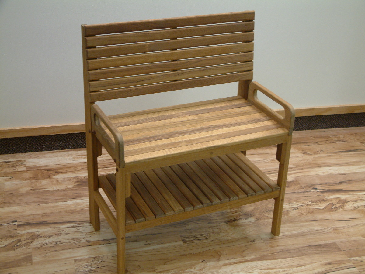 Teak Shower Bench with Back Supporter