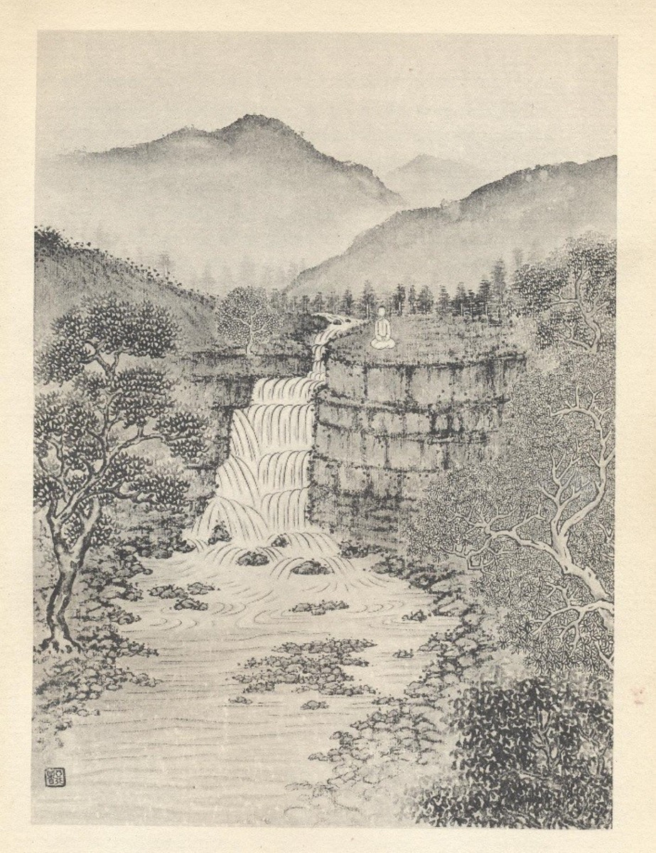 Chiang pictured himself at the top of the waterfall - so he drew himself there