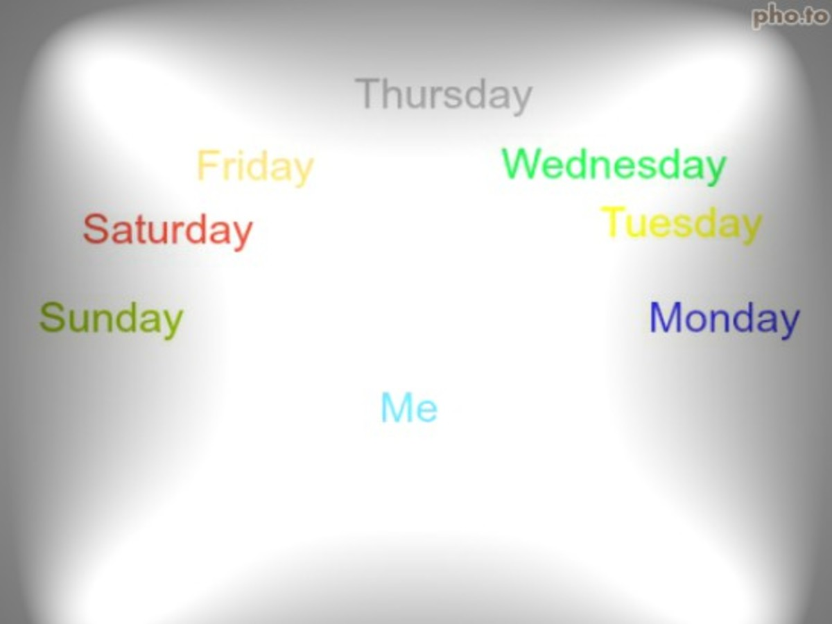 Synethesia days of the week back to front as you can see! And I also see the months of the year like this too.