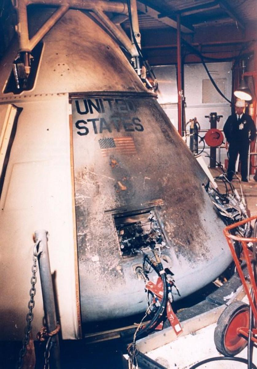 The destroyed Apollo 1 Capsule at Langley.