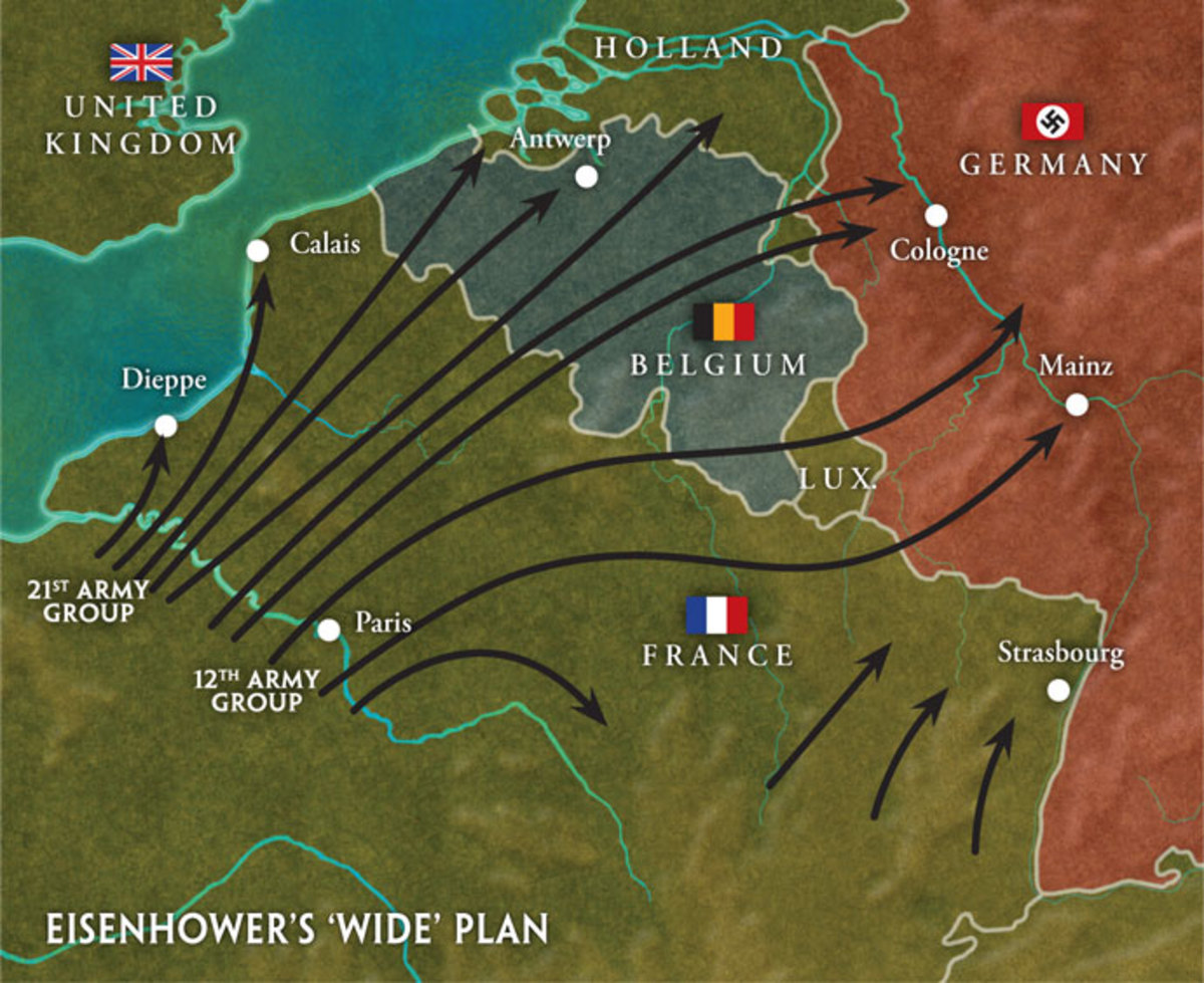 This was Eisenhower's 'Wide' Front plan. He managed to keep Monty and 'Blood & Guts' Patton apart for much of the time.