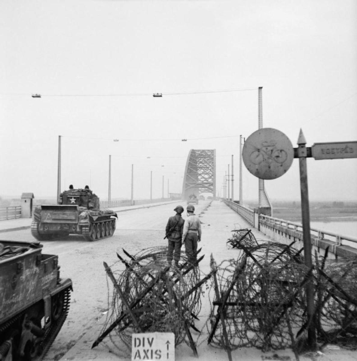2nd Welsh Guards' XXX Corps' Sherman tanks approach the Nijmegen bridge, 21st September