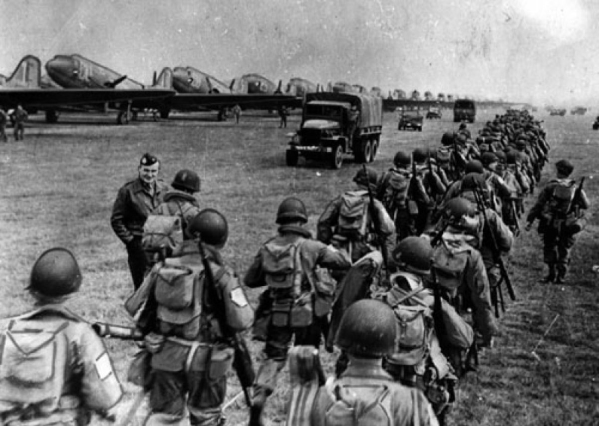 US Paratroops embark for Nijmegen, 101st 'Screaming Eagles' for the bridge over the Wilhelmina Canal, 82nd to take the main road bridge intact for XXX Corps to cross on their way north to Arnhem