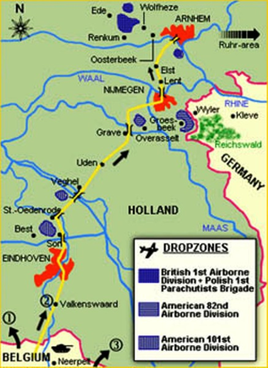 XXX Corps' route north from Belgium would first pass 82nd, then 101st US Airborne drop zones before heading to relieve British 1st Airborne at Arnhem - the 'Bridge Too Far'