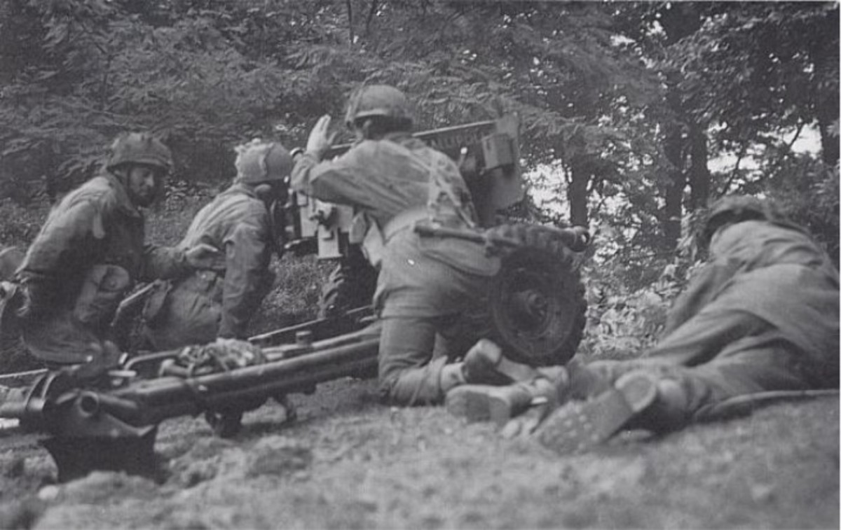 British troops man a light 6-pounder field gun at Arnhem