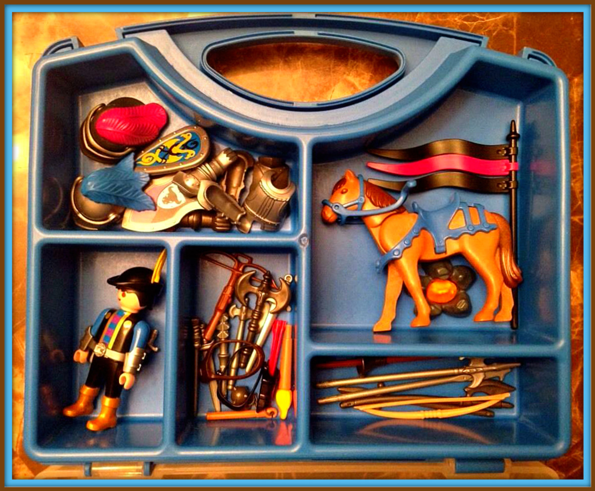Here is a Playmobil number # 4177 Knight Carry Case with lots of accessories, this one came out in the year 1993.