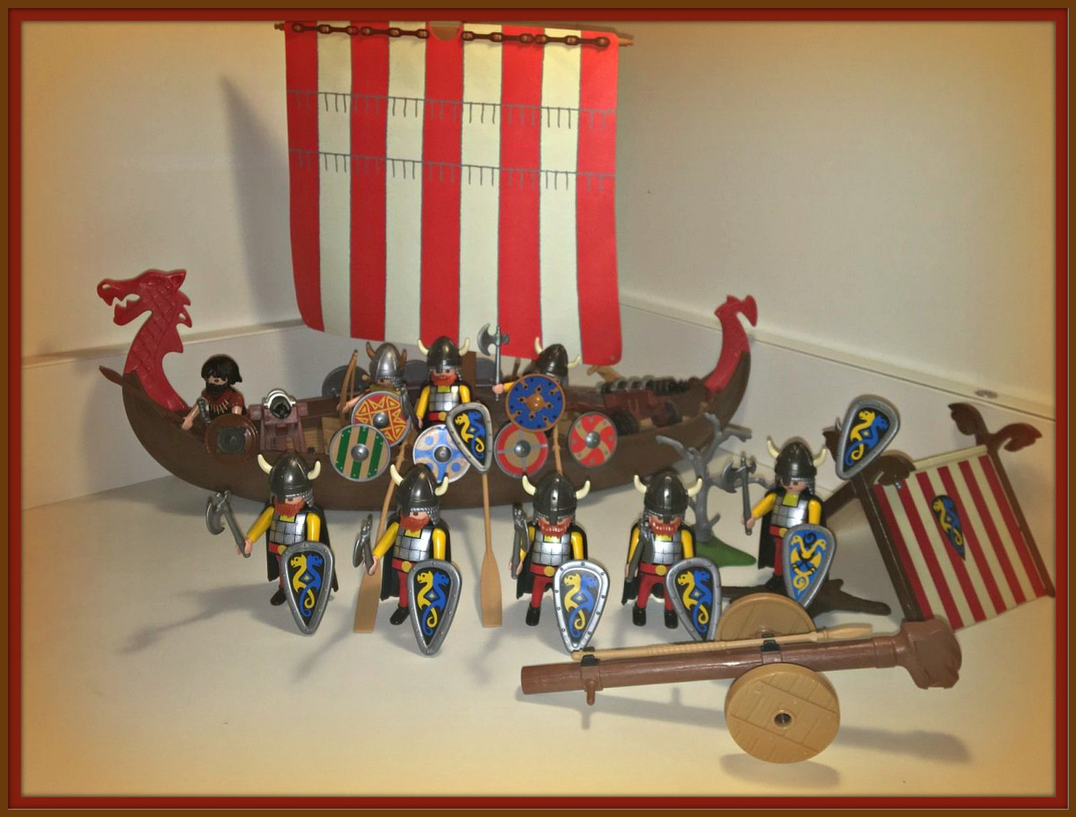 Here is a very unique set of Vikings with a Long Ship and Army of Vikings in the camp. Plus you have two  additional cannons. This a combination of five  separate sets for the year 1993.