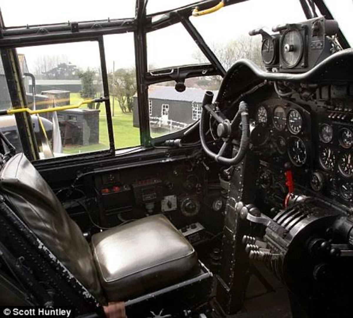 Cockpit of a Lancaster bomber
