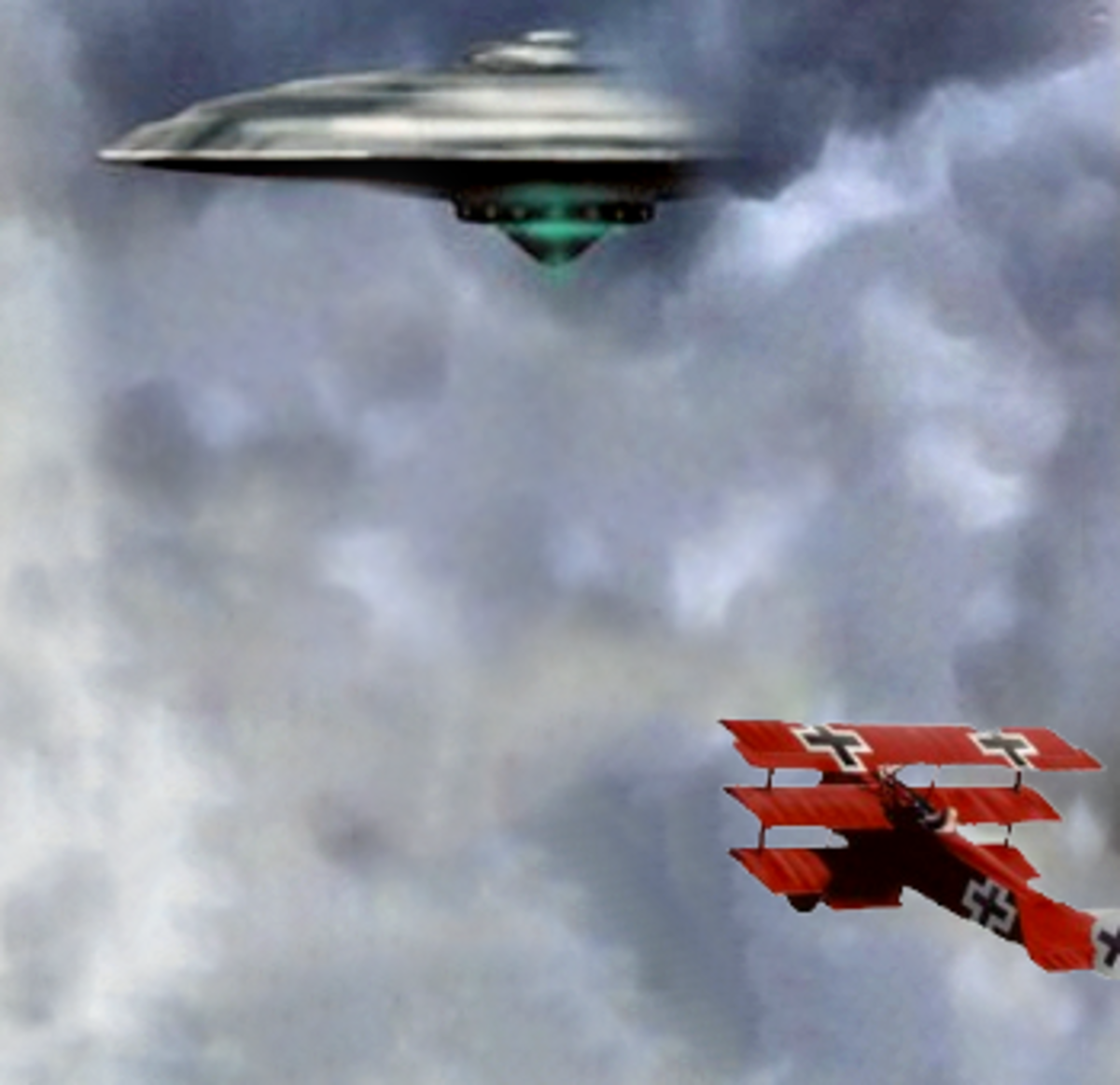 Great War fighter attacking a UFO