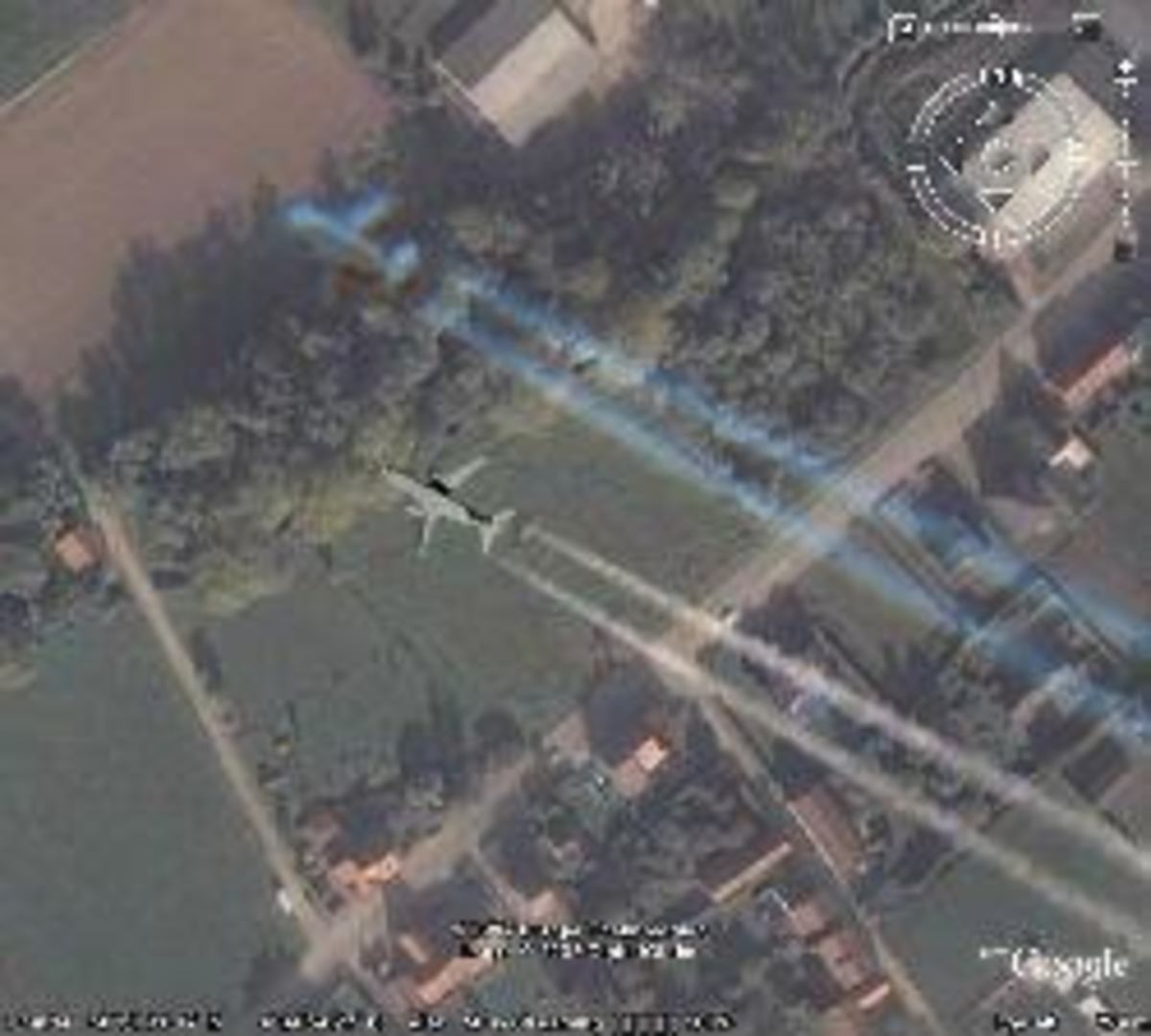 Ghostly trail of phantom aircraft taken from Google satellite picture.