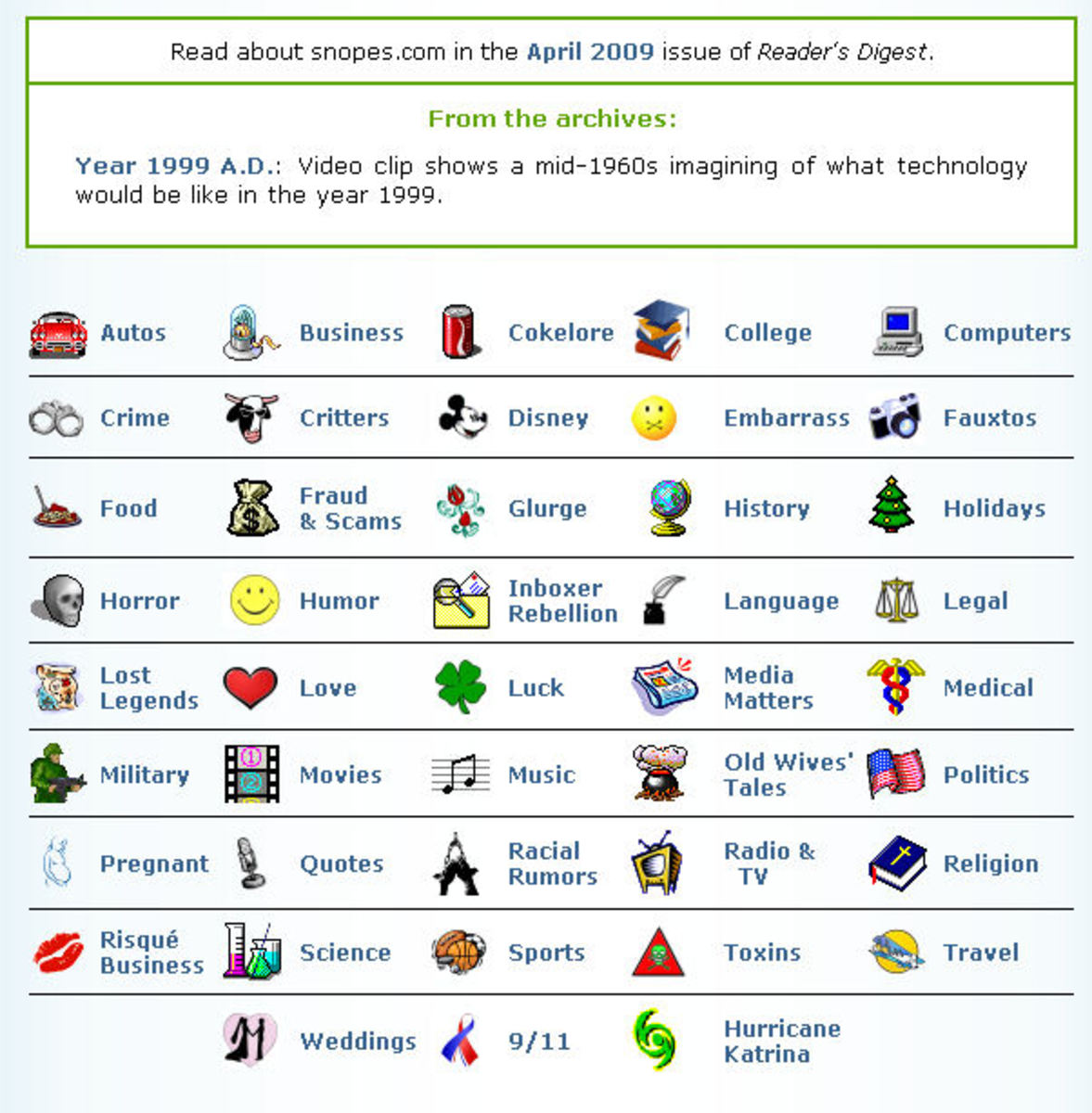 screen shot  from Snopes.com of various categories covered under fact-checking site. Originally posted at computers4seniors.org