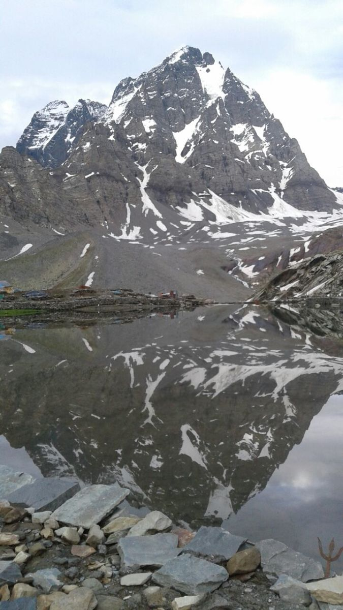 Reflection of Manimahesh Peak in the Lake