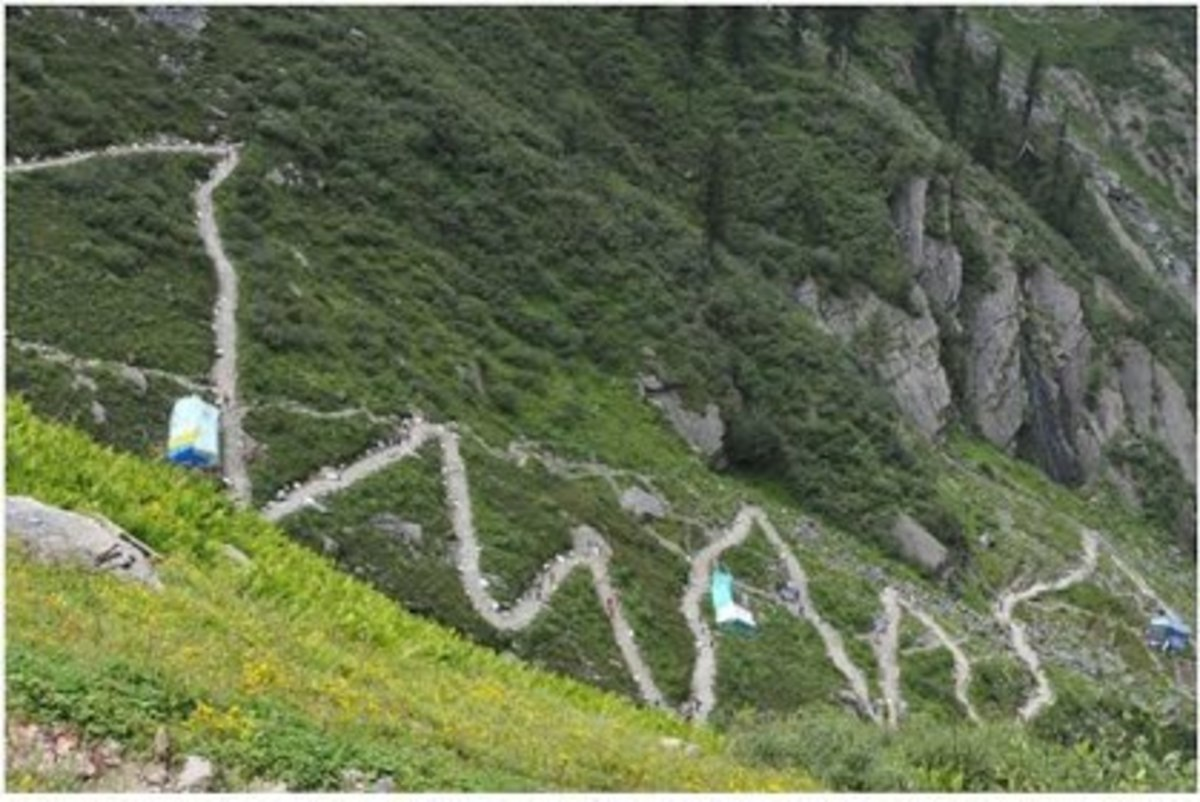 Zigzag path through monkey velley and resting camps on the way to Manimahesh