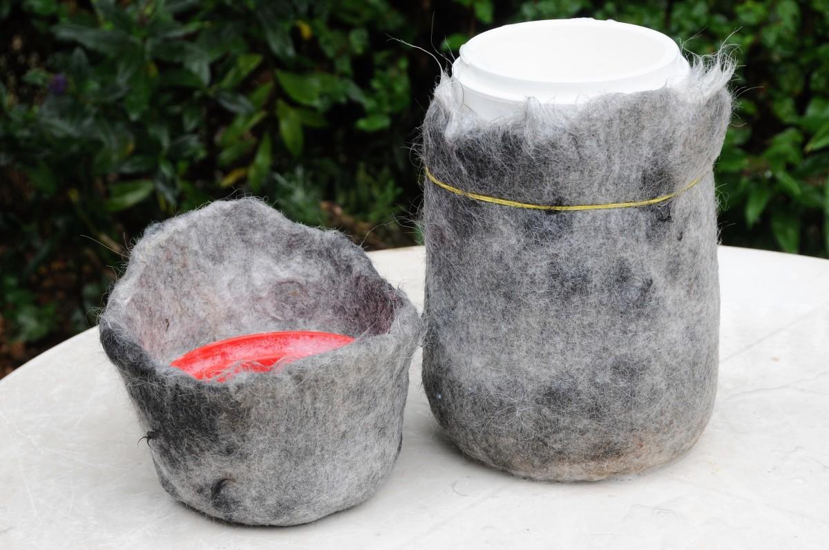 Shaping the Memorial Urn over the yoghurt maker