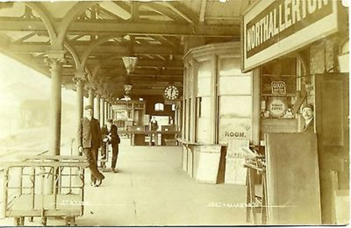 A sepia view of Northallerton station in the early 1900s. Not exactly busy, but some people managed to look rushed off their feet come-what-may