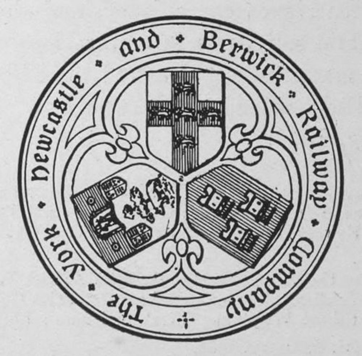 The York, Newcastle & Berwick Railway seal displays the arms of each city, with York's at the top, Newcastle's on the right