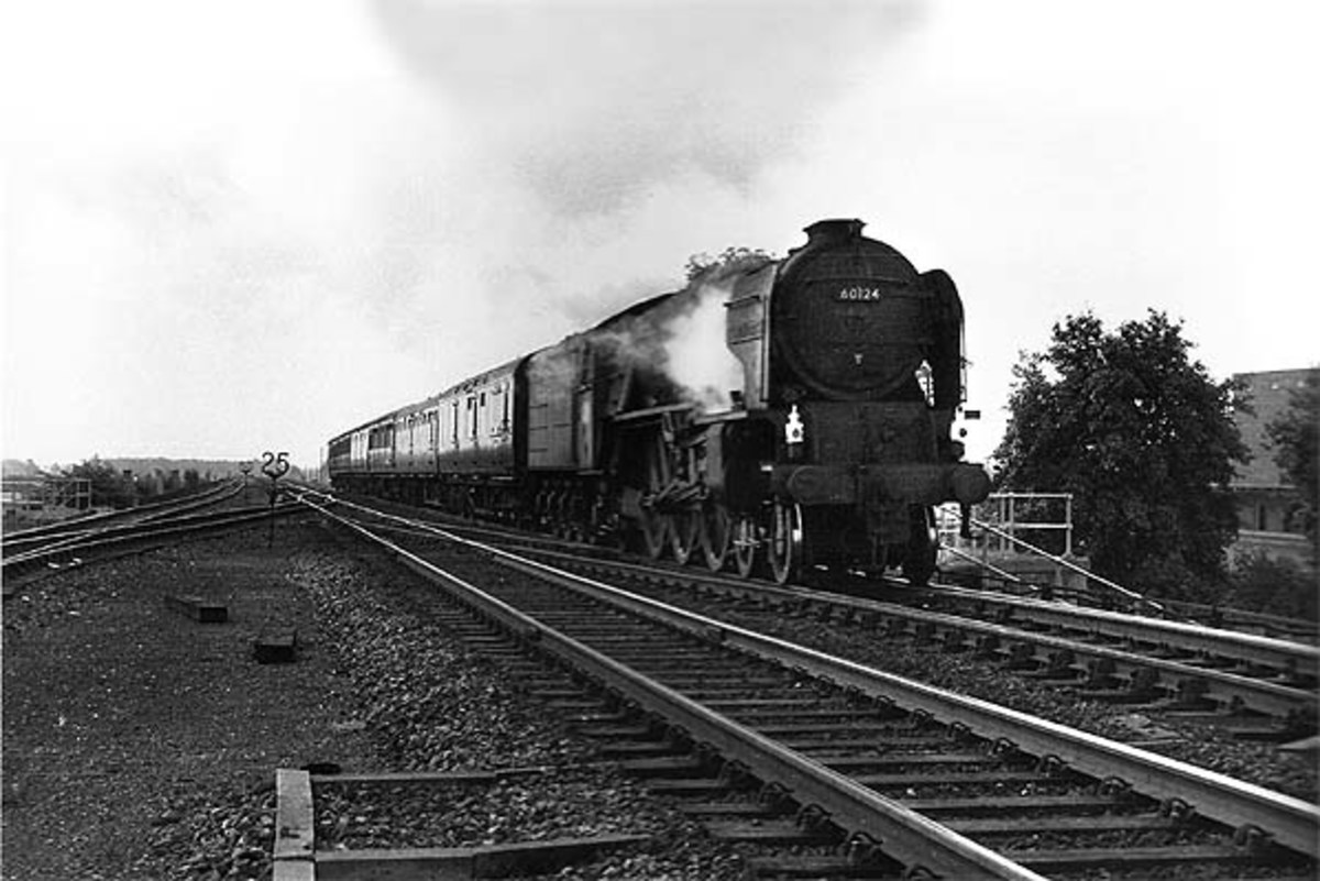 Class A1 Pacific heads a 'down' Liverpool-Newcastle express past Cordio Junction at the south end of Northallerton (near Boroughbridge Road) in 1964