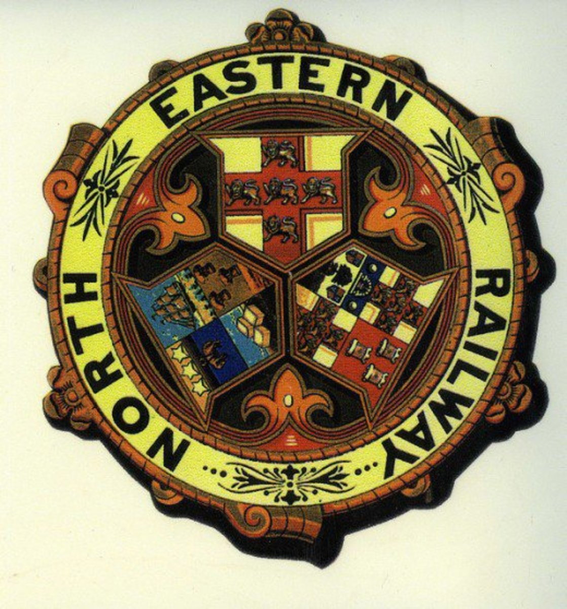 Further in time, the North Eastern Railway arms depicts York again at the top, Leeds on the left and Newcastle right