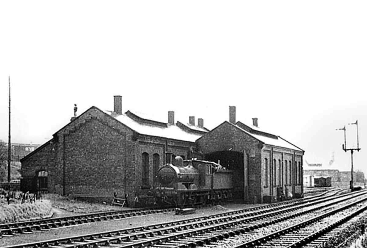 1937, halcyon days with T W Wordsdell Class C (LNER J21) standing outside the loco shed