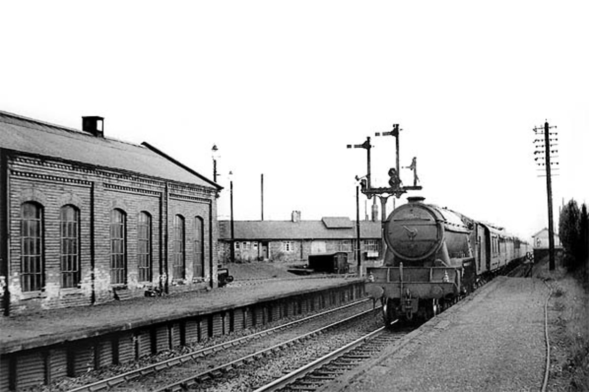 Looking the other way, with Class A3 Pacific heading a passenger working towards Leeds via Ripon and Harrogate past the locomotive depot