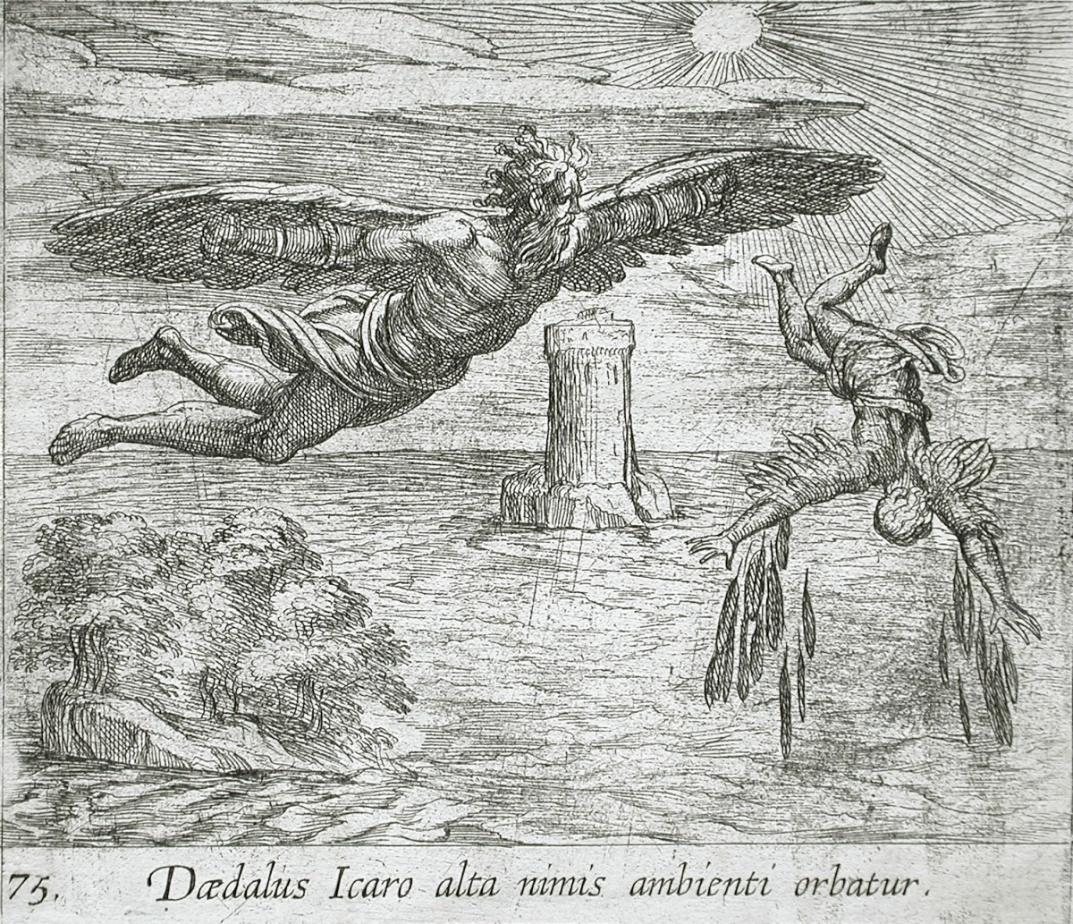 """""""The Fall of Icarus"""" (1606) by Antonio Tempesta Italian (Florence, Italy 1555 - 1630 Rome, Italy) from Illustrations to Ovid's """"Metamorphoses"""" Print Italian ,  17th century Etching 10.5 x 12 cm (4 1/8 x 4 3/4 in"""