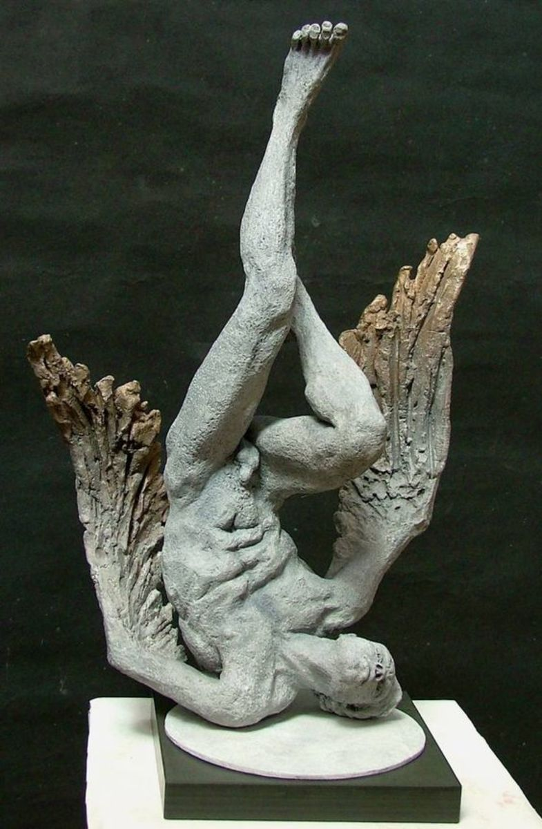 Icarus with Burning Wings, a Bronze on Bronze by Lucianne Lassalle