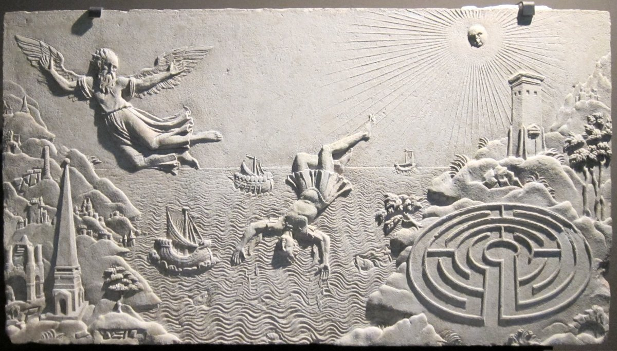 17th-century relief with a Cretan labyrinth bottom right (Musée Antoine Vivenel)