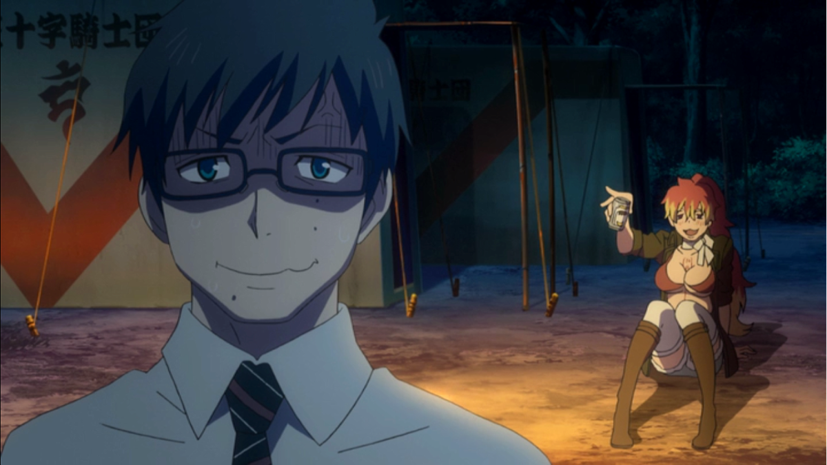 Yukio Okumura unable to deal with drunk Shura Kirigakure.