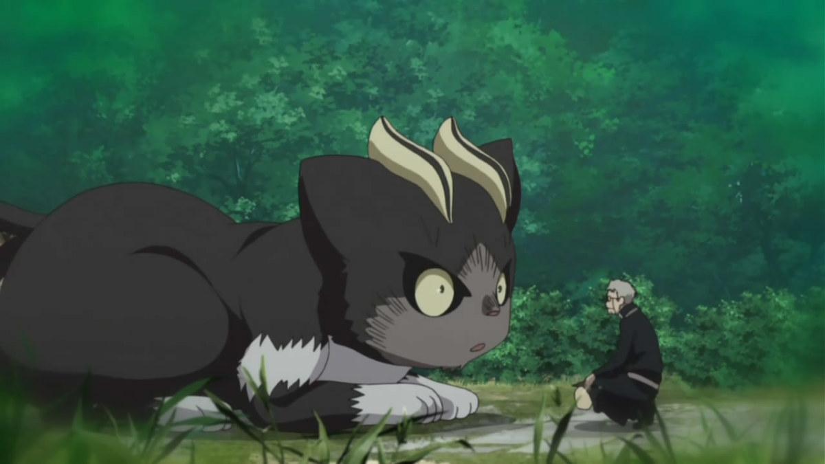 Kuro in his big form with Shiro Fujimoto.
