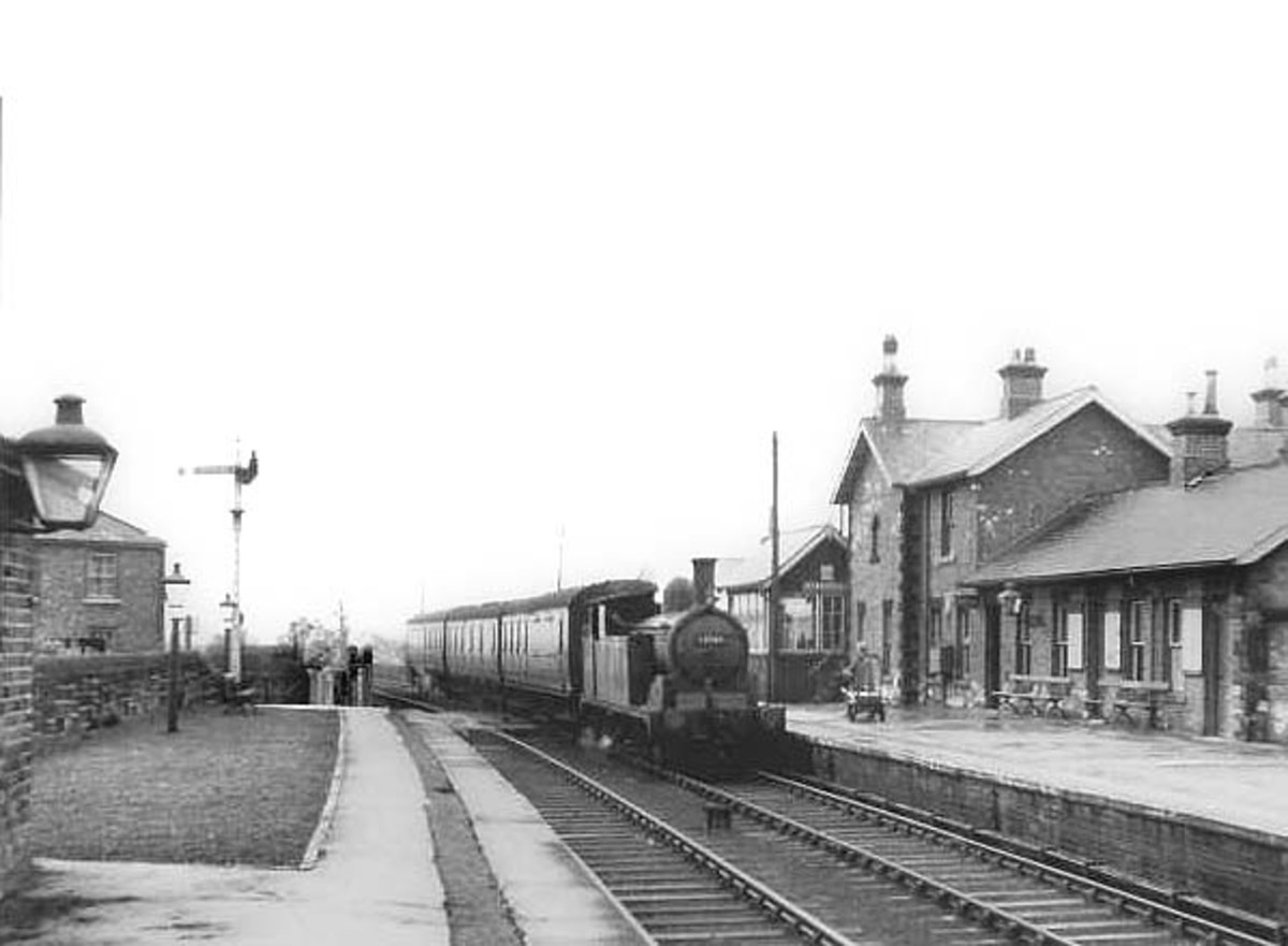 Stokesley in the1950s with a Class G5 0-4-4 tank locomotive enters the station from the Battersby direction