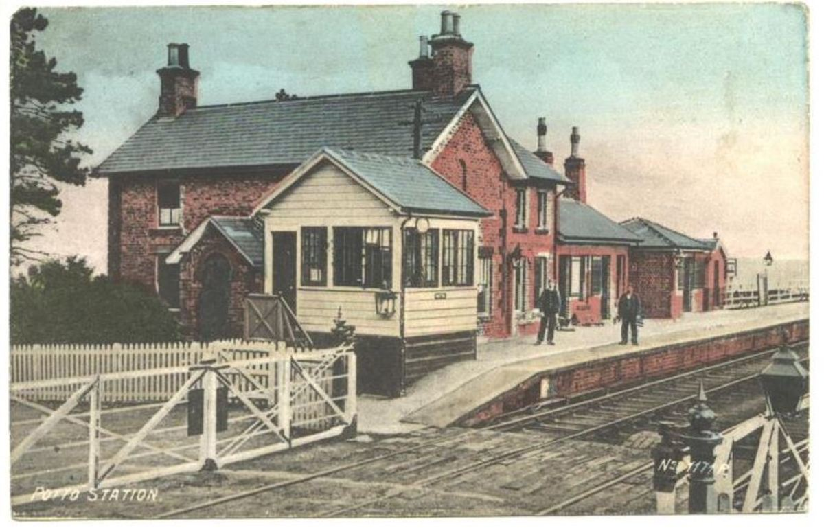 Potto Station early in the 20th Century - some time after closure the station buildings were taken over by a road haulage company, 'Prestons of Potto'