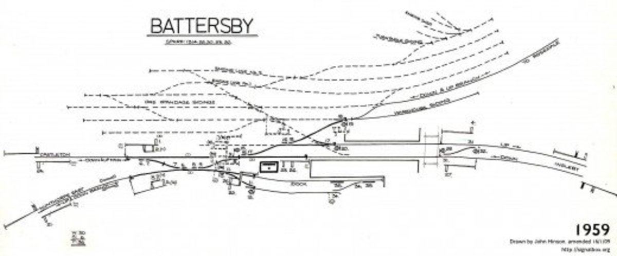Battersby Station diagram in 1959. The exchange sidings for the Rosedale Railway mineral wagons have been lifted although still marked by dashes