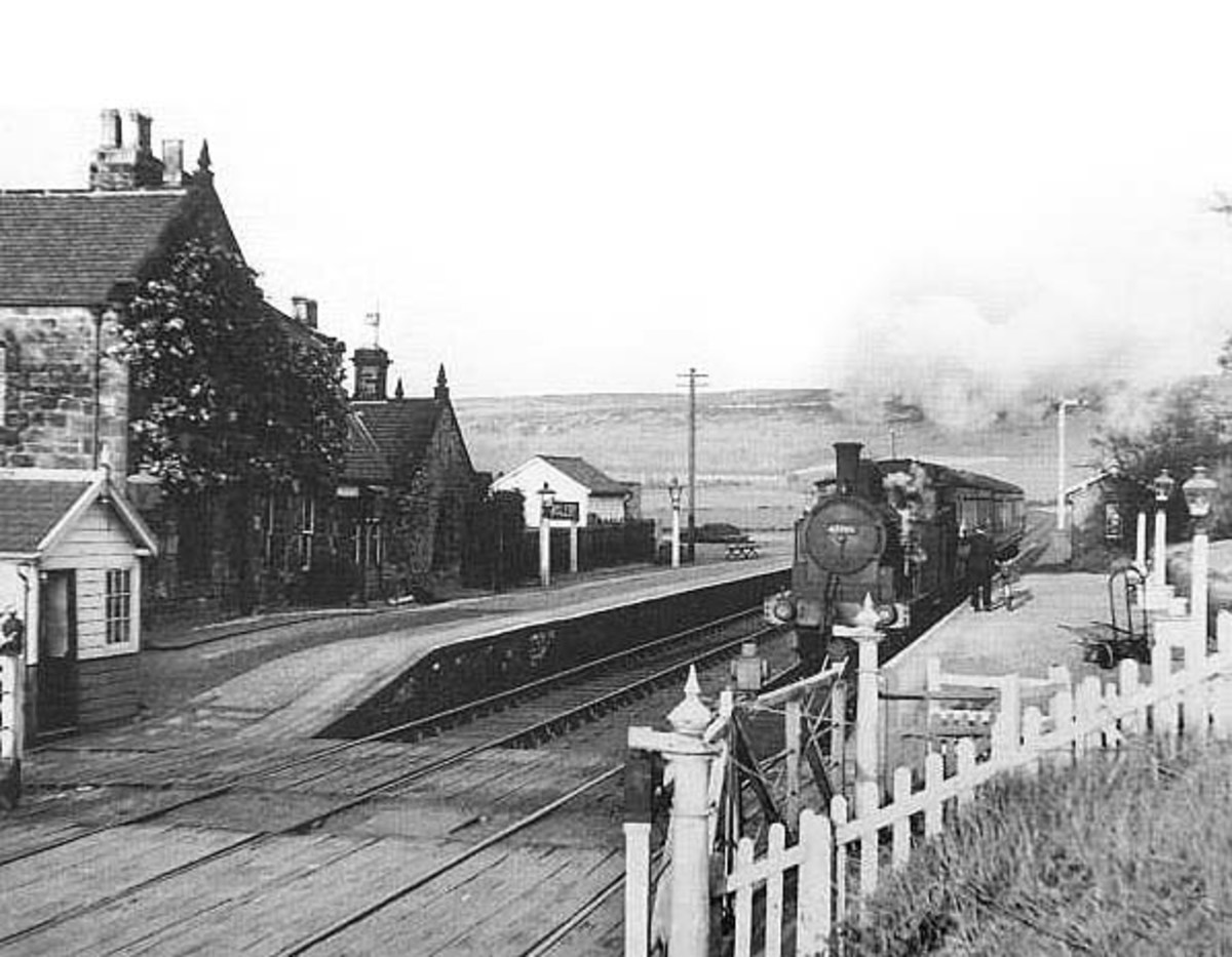Ingleby in 1954 with G5 67288, a Tyneside engine runs 'wrong road', filling her shift with a turn up the branch runs