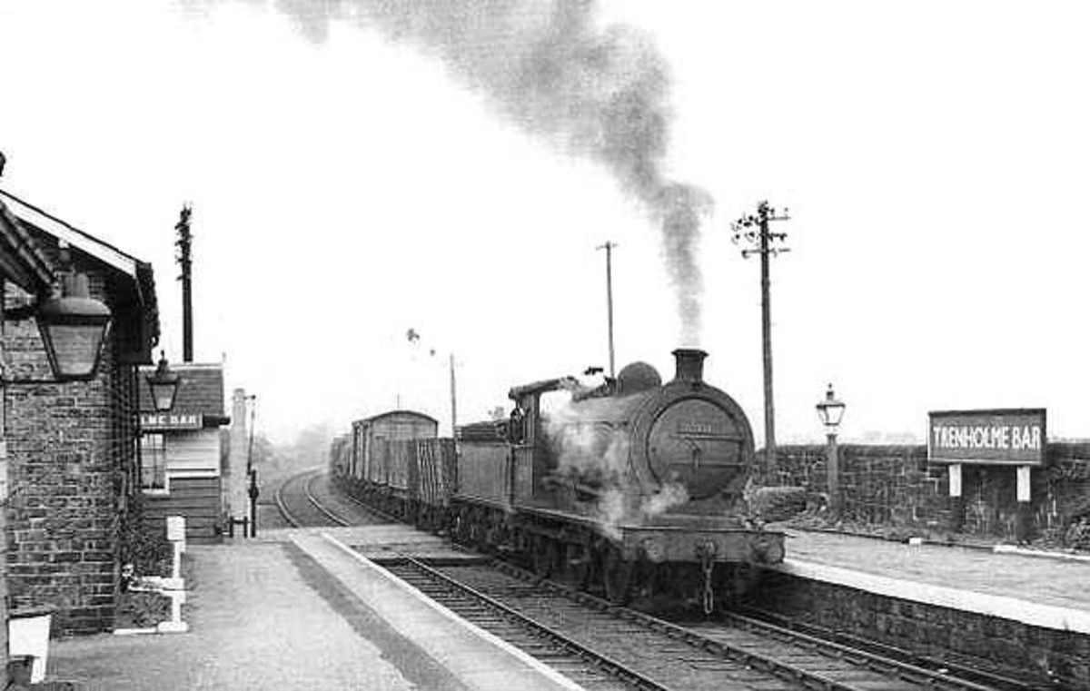 Unidentified Class J27 brings a branch pick-up goods train into Trenholme Bar from the Picton direction in the 1950s