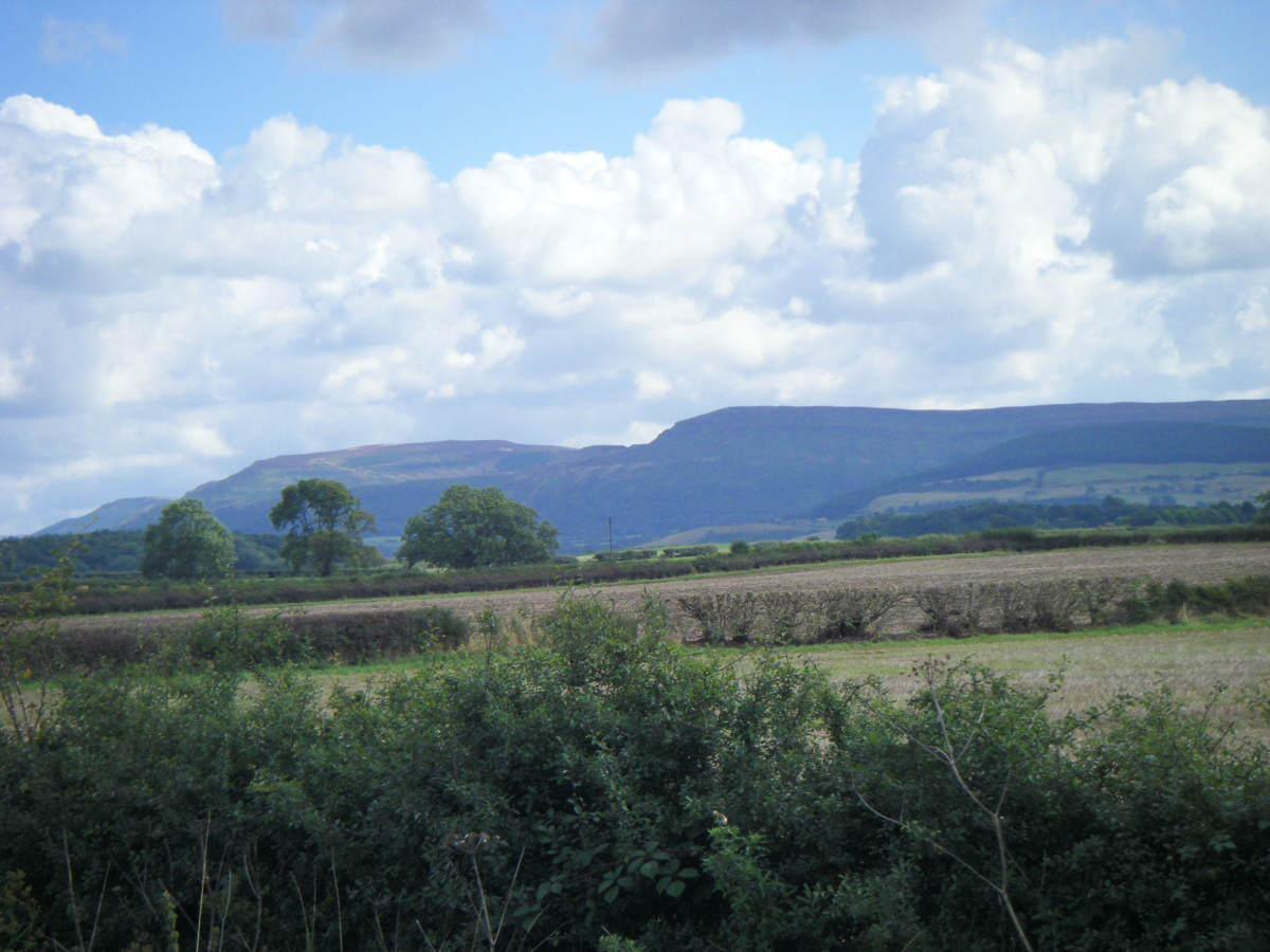 The Cleveland Hills, seen from the west where the railway from Picton snaked past Trenholme Bar, Potto, Whorlton and Stokesley - you can see the reasoning behind the Danes' description of the terrain