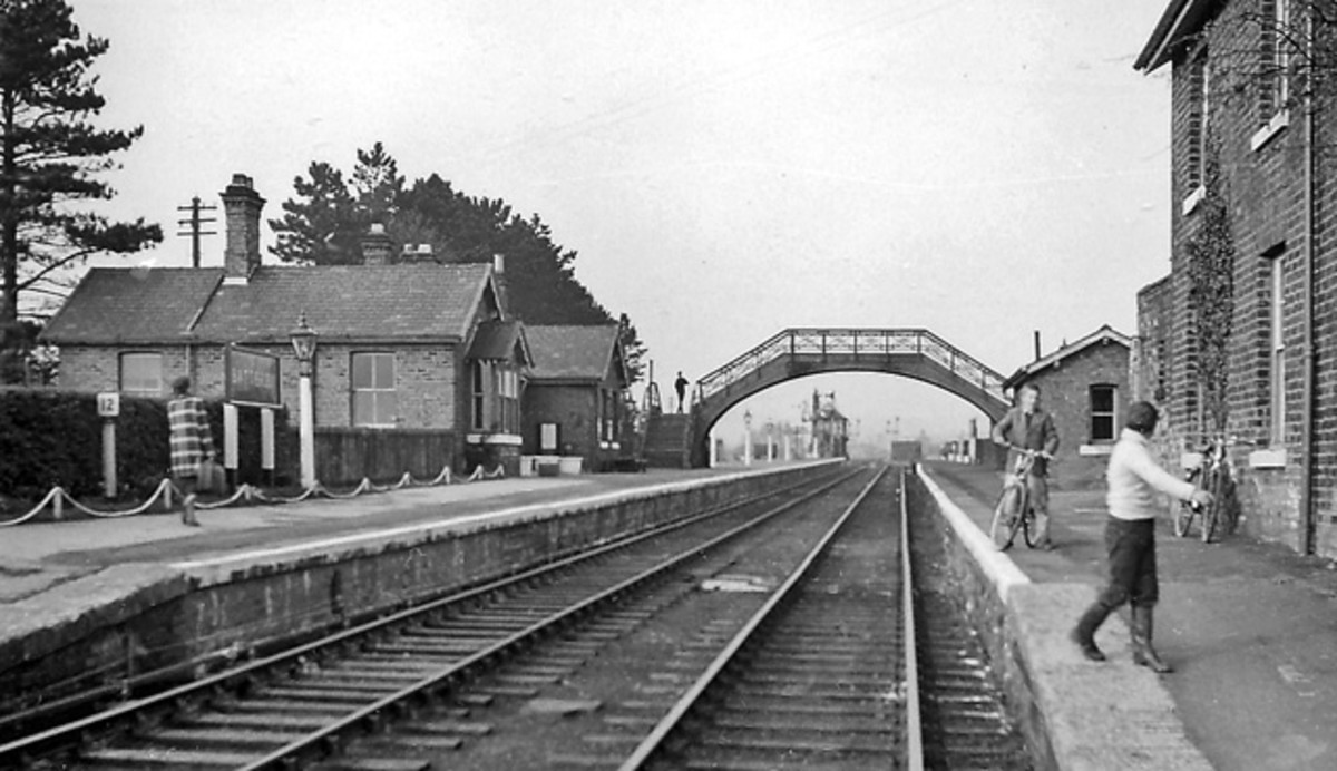 Battersby Station looking north-eastwards from the exit (right, out of picture) in the 1950s with the footbridge still in situ. After closure of the branch to passengers from  the Picton direction in 1954 the bridge to the 'Down' platform was removed