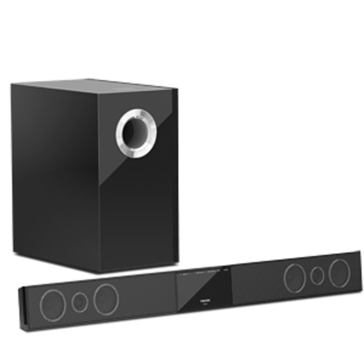 The Toshiba SBX4250KN sound bar offers a wireless Bluetooth subwoofer.