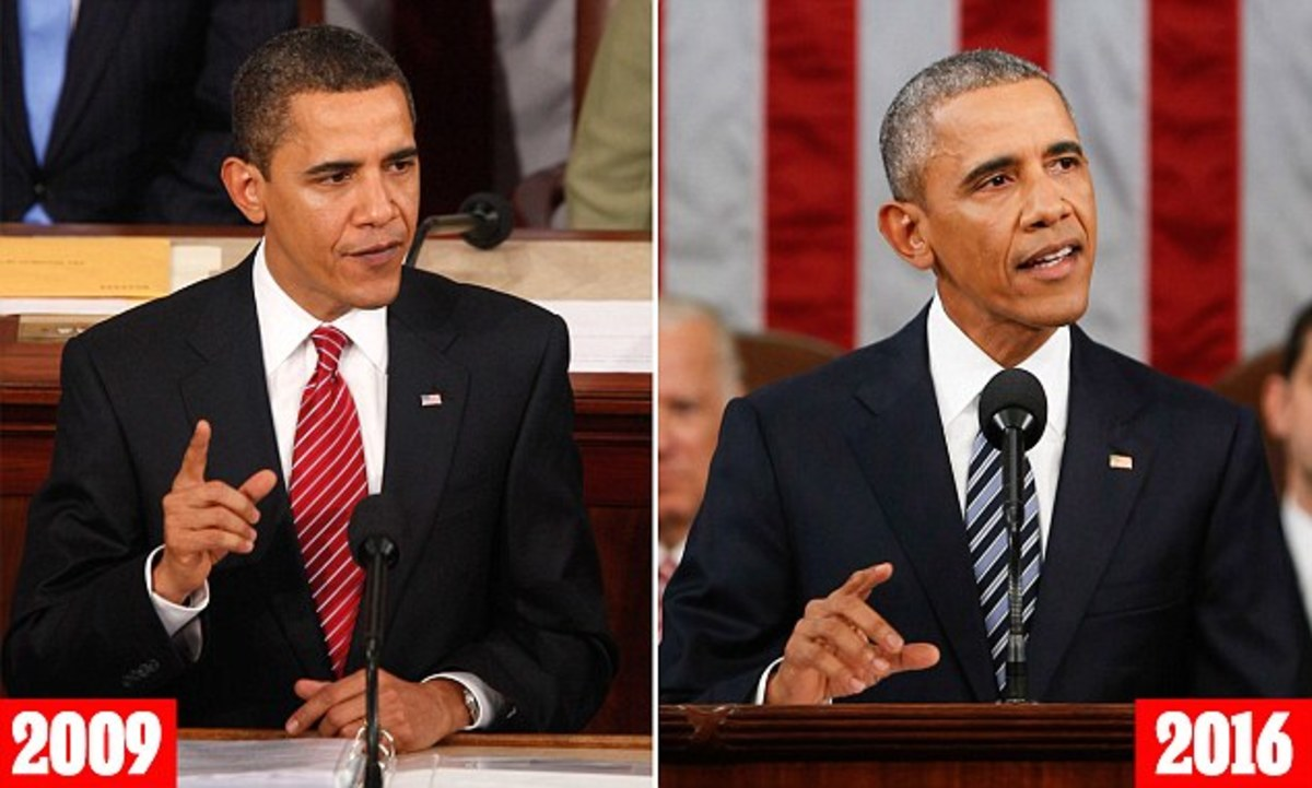 The above pictures show how much Barack Obama aged since he began his first term in 2009. The 47-year-old commander-in-chief had jet-black hair, smooth skin, and only minor wrinkles. Leaving office at 55, he shows how much the presidency has aged him
