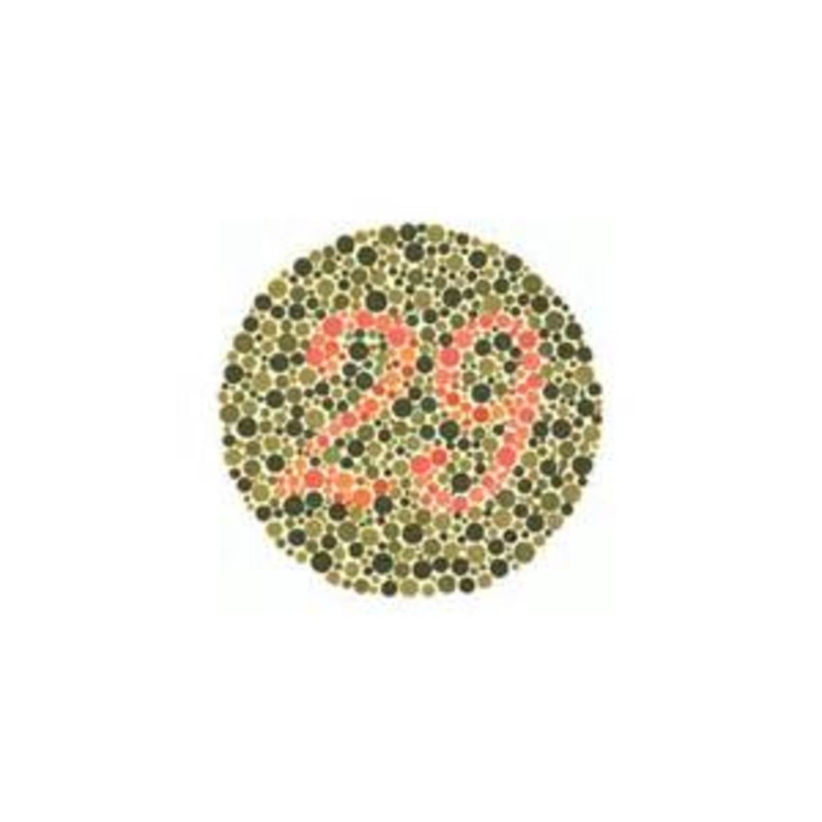 People with normal colour vision can see the number 29 inside the circle.