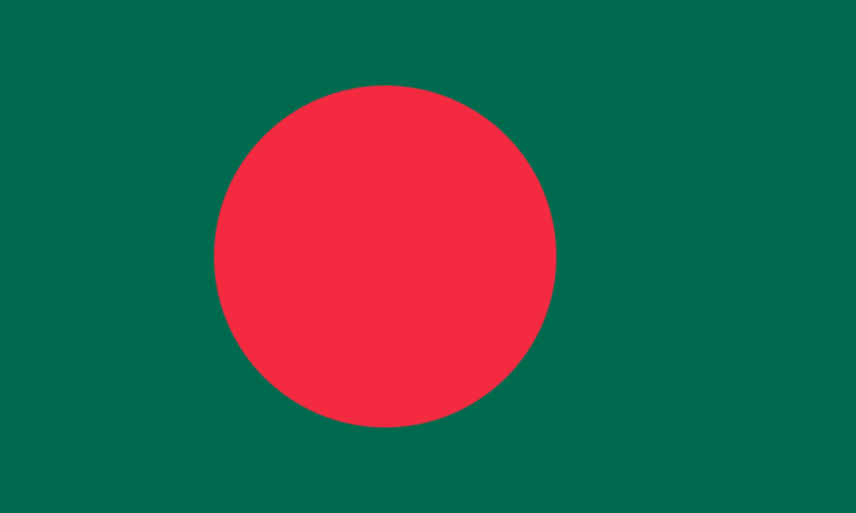 The red and green of the bangladeshi flag